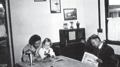 The Kotlicki family in a detached house at the camp. From left to right: Elżbieta, son Mieczysław, father Mieczysław, pictures provided by the Polish Children's Reunion Committee